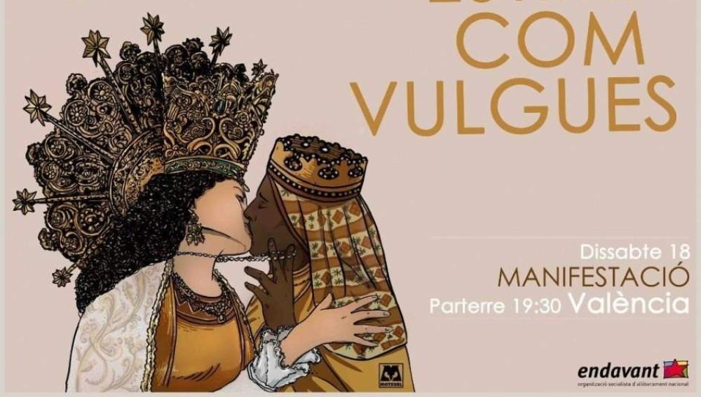 Una asociación catalanista se mofa de la Virgen de los Desamparados