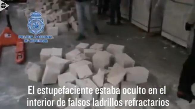 La policía incauta 45 millones de euros en cocaína escondida en ladrillos
